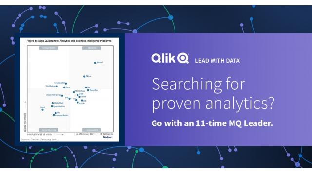 Qlik a Leader in 2021 Gartner Magic Quadrant for Analytics & Business Intelligence Platforms report